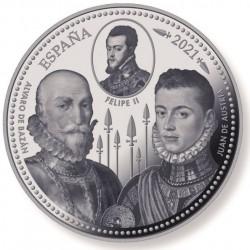 A Lepantói csata 450. évfordulója spanyol 5 uncia proof ezüst pénzérme