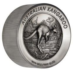 Kenguru 2019 2 kilogramm antikolt high-relief ezüst pénzérme