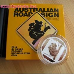 Koala útjelző tábla 2014 1 uncia ezüst pénzérme