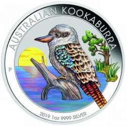 Kookaburra 2019 1 uncia színezett ezüst pénzérme