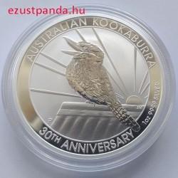 Kookaburra 2020 1 uncia ezüst pénzérme, jubileumi kiadás