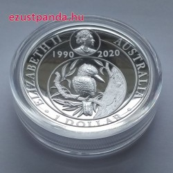 Kookaburra 2020 1 uncia high relief, jubileumi ezüst pénzérme