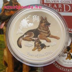 Lunar2 Kutya éve 2018 1 uncia színes proof ezüst pénzérme
