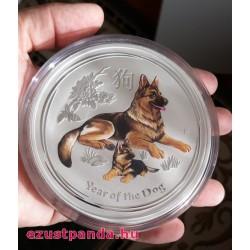 Lunar2 Kutya éve 2018 1 kilogramm színes ezüst pénzérme, drágakővel