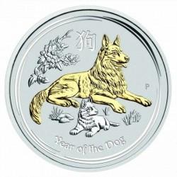 Lunar2 Kutya éve 2018 1 uncia aranyozott ezüst pénzérme