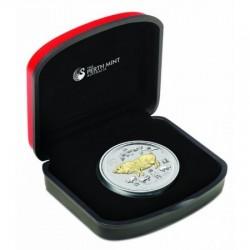 Lunar2 Disznó éve 2019 1 uncia aranyozott ezüst pénzérme
