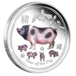 Lunar2 Disznó éve 2019 1 uncia színes proof ezüst pénzérme