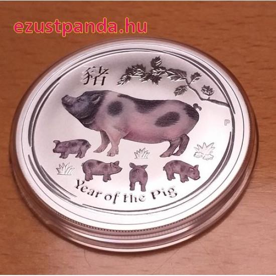 Lunar2 Disznó éve 2019 1 uncia színes ezüst pénzérme