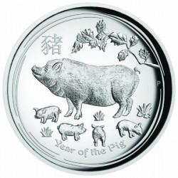 Lunar2 Disznó éve 2019 1 uncia high relief ezüst pénzérme