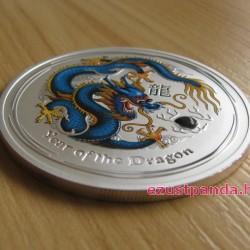 Lunar2 Sárkány éve 2012 1 uncia színezett ezüst pénzérme (kék)