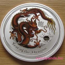 Lunar2 Sárkány éve 2012 1 uncia színezett ezüst pénzérme (barna)