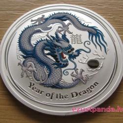 Lunar2 Sárkány éve 2012 1 uncia színezett ezüst pénzérme (fehér)
