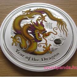 Lunar2 Sárkány éve 2012 1 uncia színezett ezüst pénzérme (sárga)