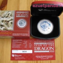 Lunar2 Sárkány éve 2012 1 uncia színezett ezüst pénzérme (fehér) limitált!