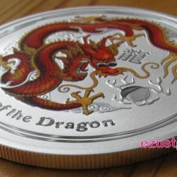 Lunar2 Sárkány éve 2012 1 uncia színezett ezüst pénzérme (vörös)
