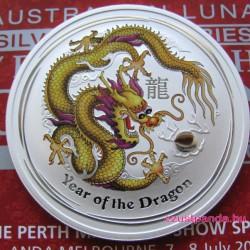 Lunar2 Sárkány éve 2012 1 uncia színezett ezüst pénzérme (sárga) limitált!