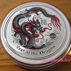 Lunar2 Sárkány éve 2012 1 uncia színezett ezüst pénzérme (fekete)