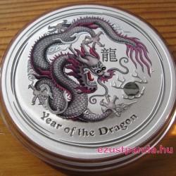 Lunar2 Sárkány éve 2012 1 uncia színezett ezüst pénzérme (ezüstszínű)