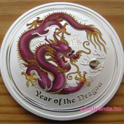 Lunar2 Sárkány éve 2012 1 uncia színezett ezüst pénzérme (bíbor)