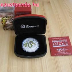 Lunar2 Kígyó éve 2013 1 uncia színes ezüst pénzérme - WMF különkiadás!