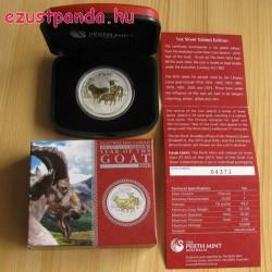 Lunar2 Kecske éve 2015 1 uncia aranyozott ezüst pénzérme