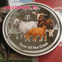 Lunar2 Kecske éve 2015 1 uncia színes proof ezüst pénzérme