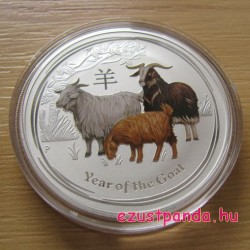 Lunar2 Kecske éve 2015 1 uncia színes ezüst pénzérme