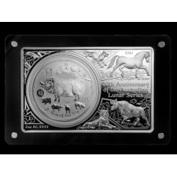 Lunar ausztrál érmék 20. évforduló 2019 3 uncia ezüst szett