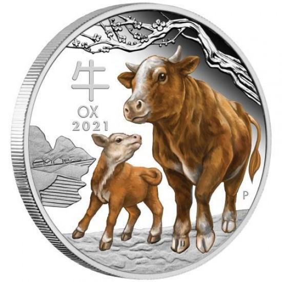 Lunar3 Bivaly éve 2021 1 uncia színes, proof ezüst pénzérme