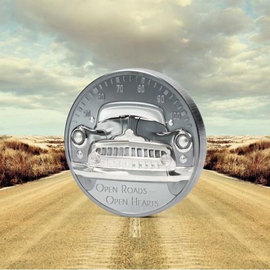 """Veterán autó - Nyílt utak, nyílt szívek! 2021 2 uncia """"black proof"""" ezüst pénzérme"""