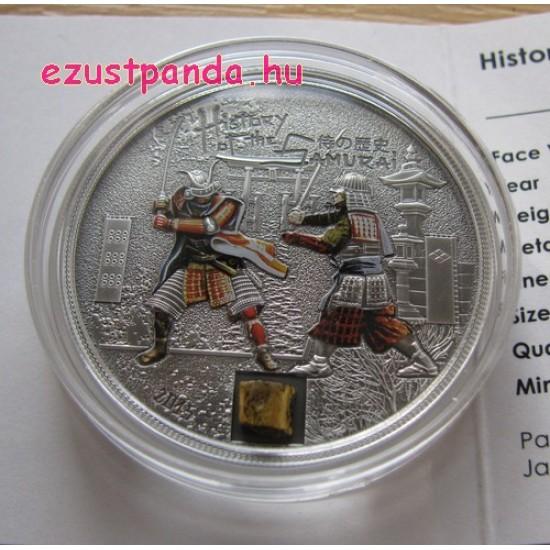 A szamurájok története 2015 antikolt ezüst pénzérme páncéldarabkával