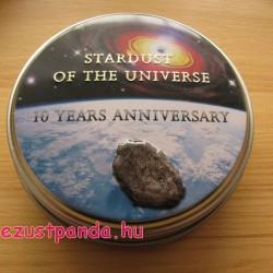 Moldavit meteorit 2014 proof ezüst pénzérme meteoritdarabkával