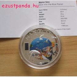 """NANO Sea - """"A tenger"""" 2014 proof ezüst pénzérme nano-chippel"""