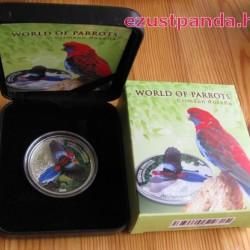 Papagájok világa -  Crimson Rosella 2014 3D proof ezüst pénzérme