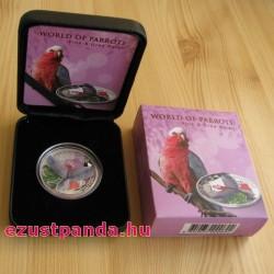 Papagájok világa -  Rózsás kakadu 2017 3D proof ezüst pénzérme