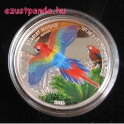 Papagájok világa -  Vörös ara 2016 3D proof ezüst pénzérme