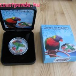 Papagájok világa -  Szivárványlóri 2015 3D proof ezüst pénzérme