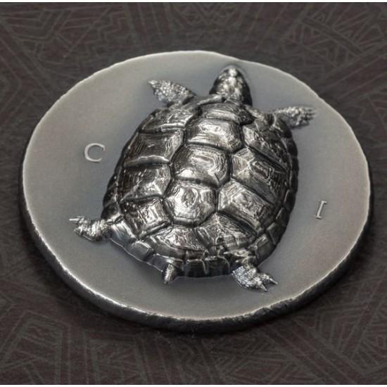 Teknős 2020 Cook-szigetek 1 uncia antikolt ezüst pénzérme