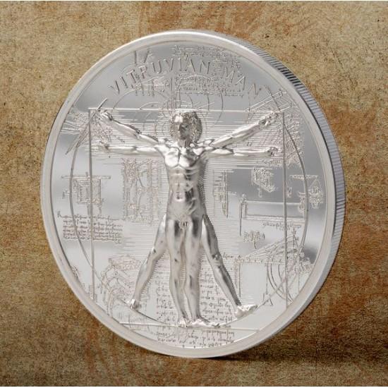 A Vitruvius-i ember - Leonardo da Vinci - Cook-szk 2021 1 uncia ezüst pénzérme röntgenképpel