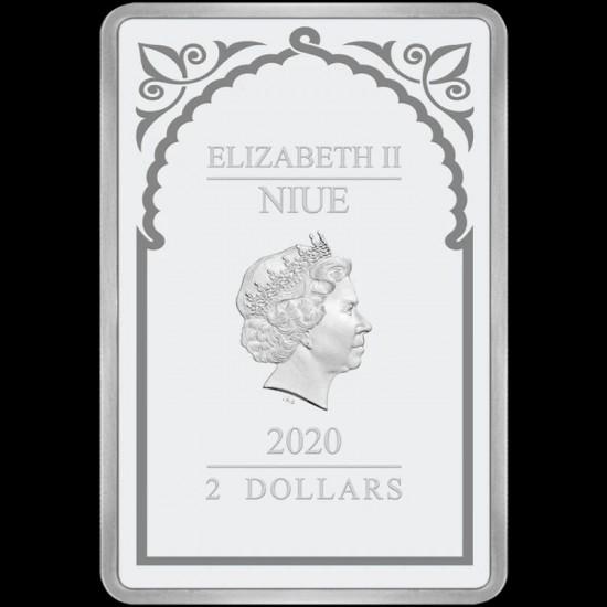 Gábriel arkangyal - Niue 2020 1 uncia proof ezüst pénzérme, téglalap alakú