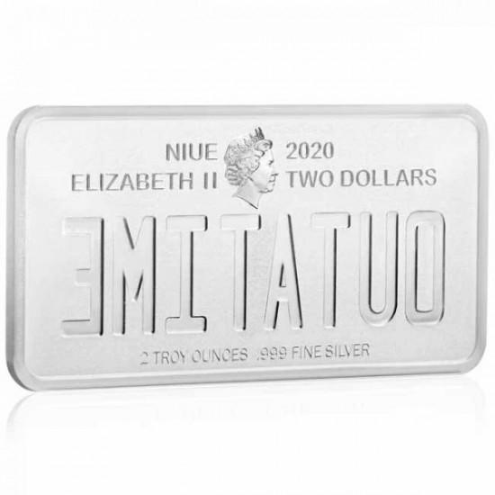 """OUTATIME """"Vissza a jövőbe"""" rendszám 2020 2 uncia proof ezüst pénzérme - csak 750 példány!"""