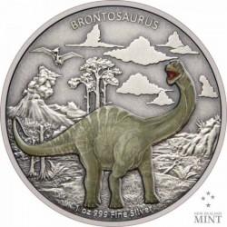 Brontosaurus - Niue 2021 1 uncia színes, antikolt ezüst pénzérme