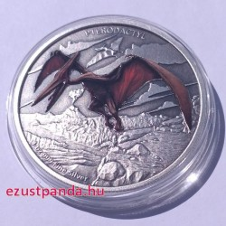 Pterodactylus - Niue 2020 1 uncia színes, antikolt ezüst pénzérme