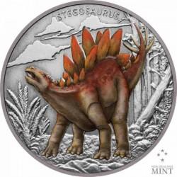Stegosaurus - Niue 2020 1 uncia színes, antikolt ezüst pénzérme