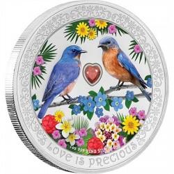 Szerelmes madarak 2019 1 uncia proof ezüst pénzérme