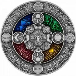 Szláv naptár 2020 2 uncia antikolt ezüst pénzérme