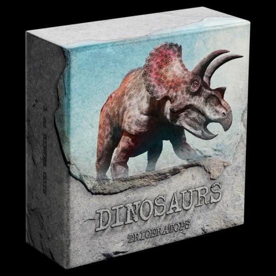 Triceratops - Niue 2020 1 uncia színes, antikolt ezüst pénzérme