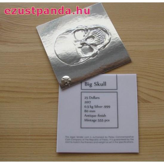 Óriás koponya Palau 2017 500 gramm antikolt ezüst pénzérme