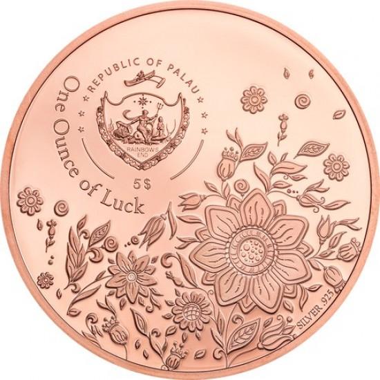 Egy uncia szerencse Palau 2020 proof ezüst pénzérme, vörös arannyal
