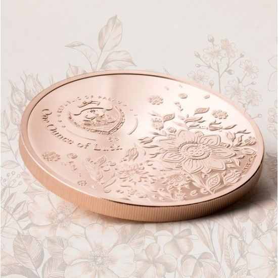 Egy uncia szerencse Palau 2021 proof ezüst pénzérme, vörös arannyal